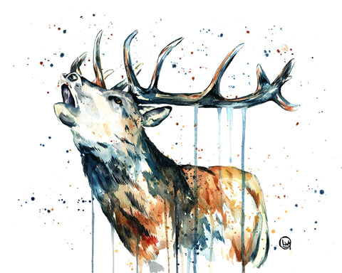 Original Elk Watercolor Painting by Lisa Whitehouse - Elk Calling