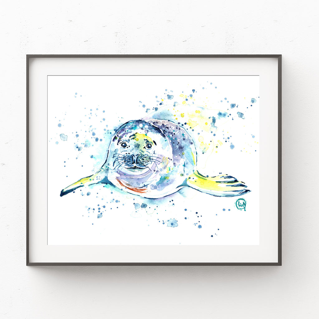 Seal Colorful Watercolor Painting