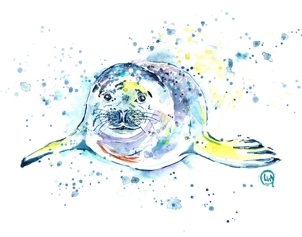 Original Harbour Seal Watercolor Painting by Lisa Whitehouse