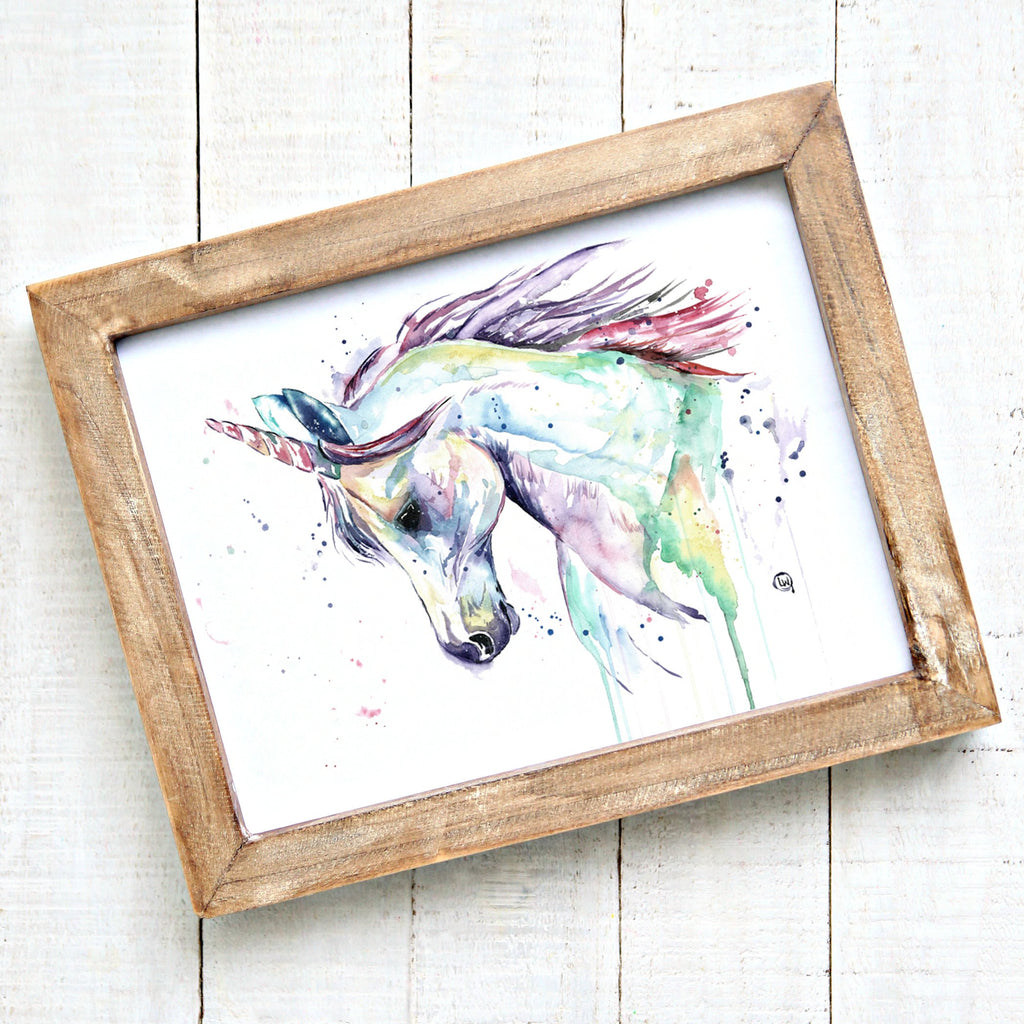 Unicorn Colorful Watercolor Painting Wall Art Print
