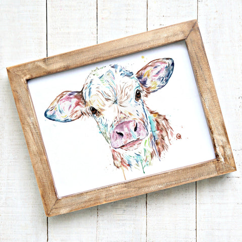 Baby Cow Watercolour Painting Art Print