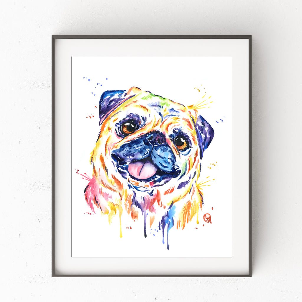 Fawn Pug Colorful Pet Portrait Watercolor Painting