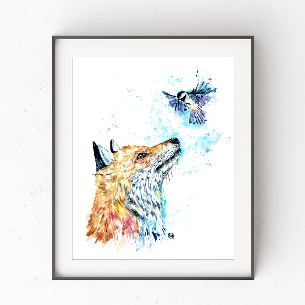 Fox and chickadee watercolor painting, woodland nursery, nursery decor