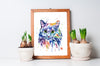 Cat Colorful Pet Portrait Watercolor Painting