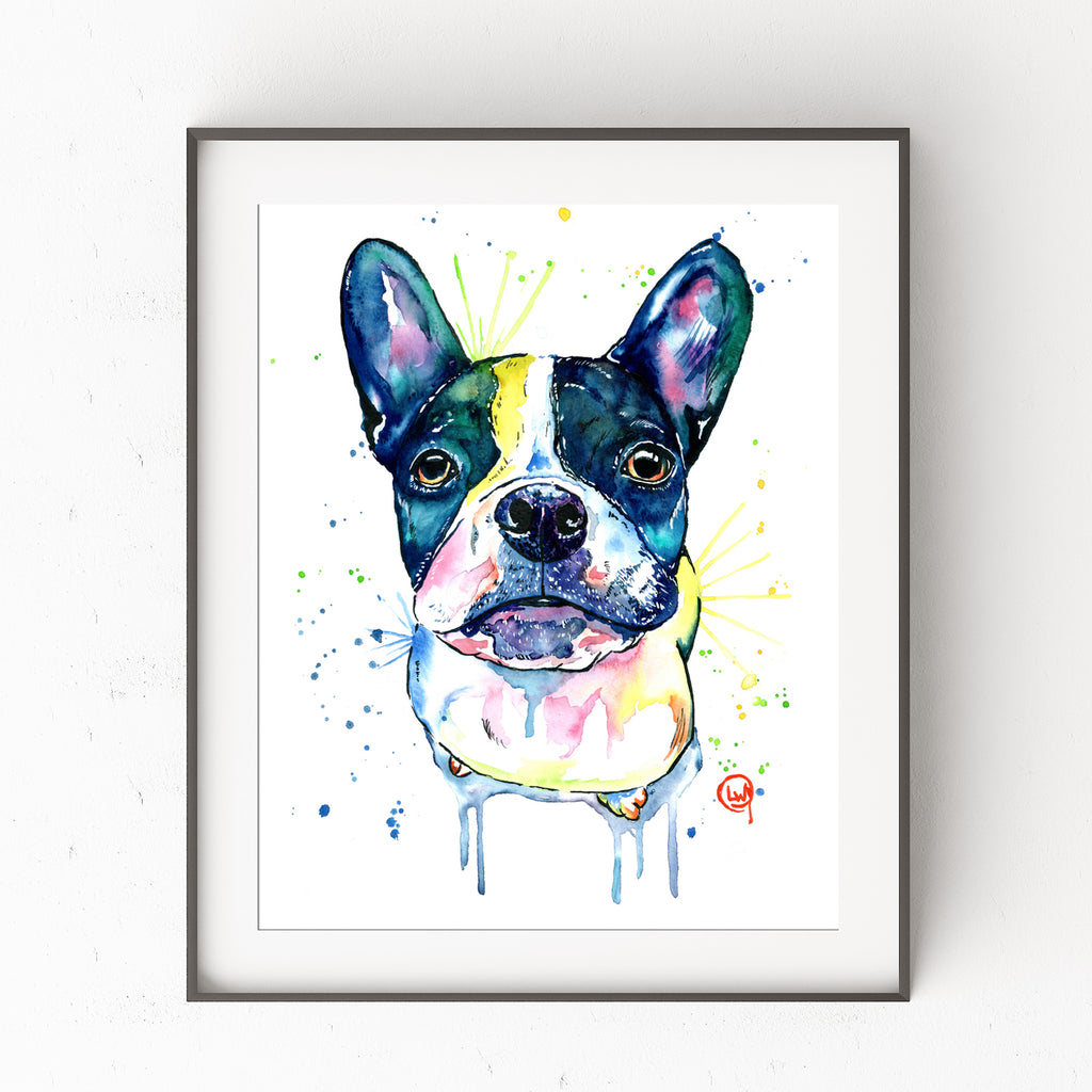 French Bulldog Colorful Watercolor Pet Portrait Painting