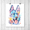 German Shepherd Colorful Watercolor Pet Pet Portrait Painting