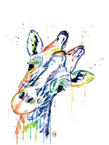 Original Watercolor Painting of a giraffe -