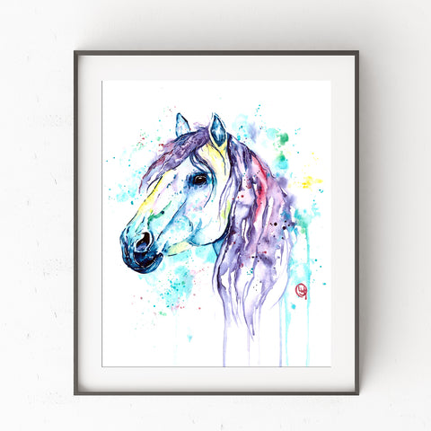 Colorful Girly Horse Watercolor Painting