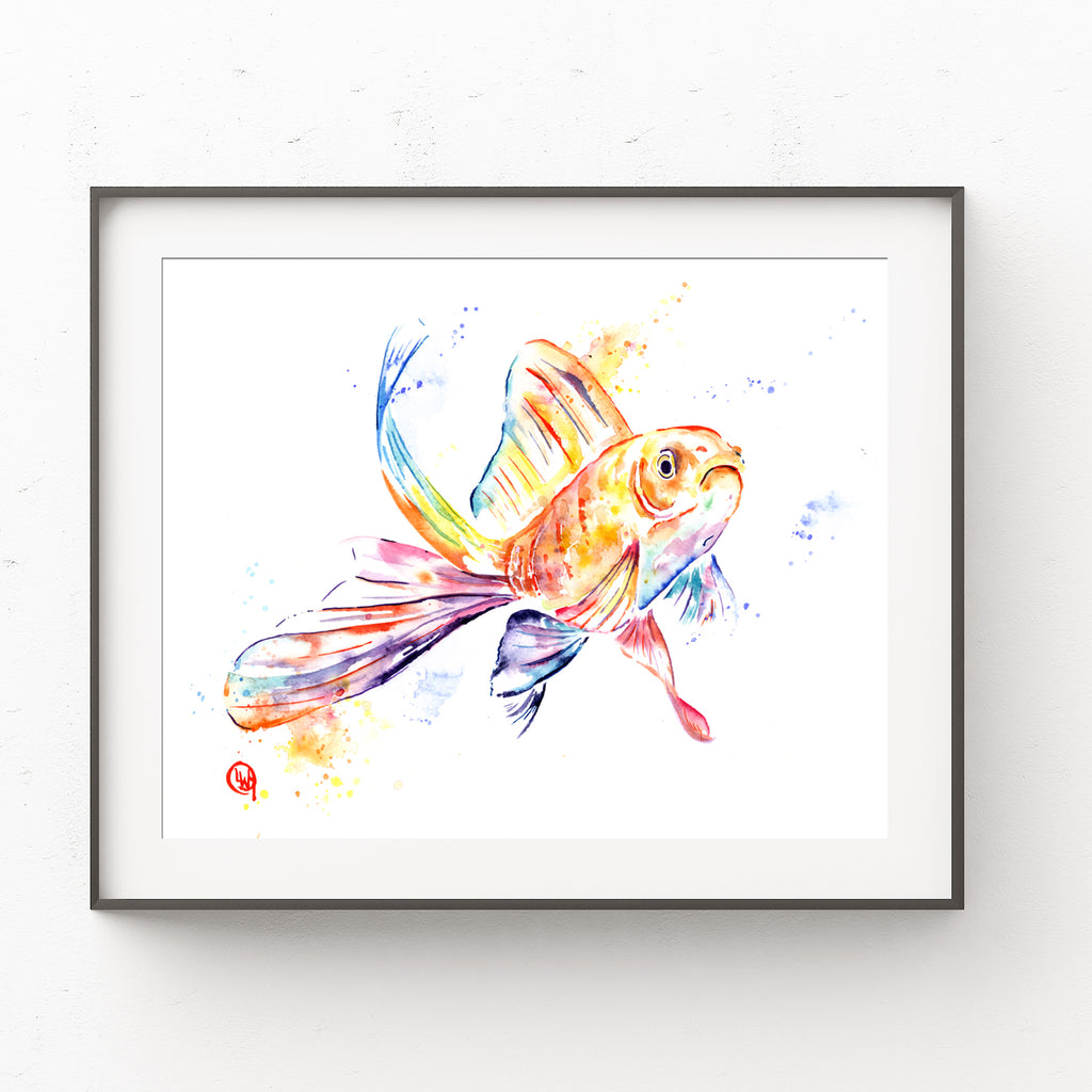 Goldfish Colorful Watercolor Painting
