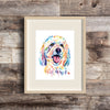 goldendoodle watercolor painting artwork art print dog painting