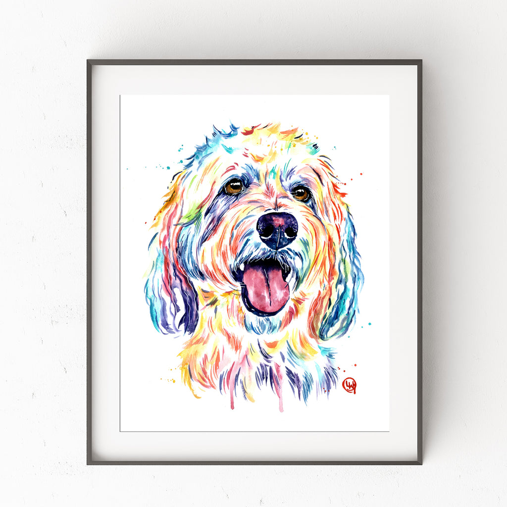 goldendoodle watercolor painting artwork art print
