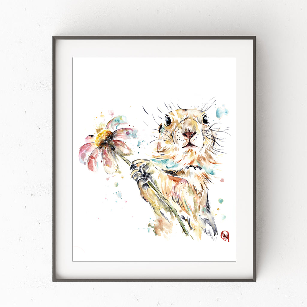 Gopher Holding A Flower Colorful Watercolor Painting
