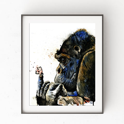 Gorilla Colorful Watercolor Painting