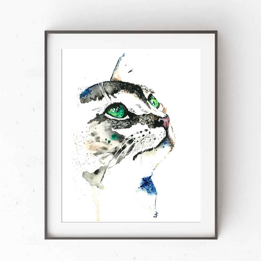 Green Eyed Cat Pet Portrait Painting