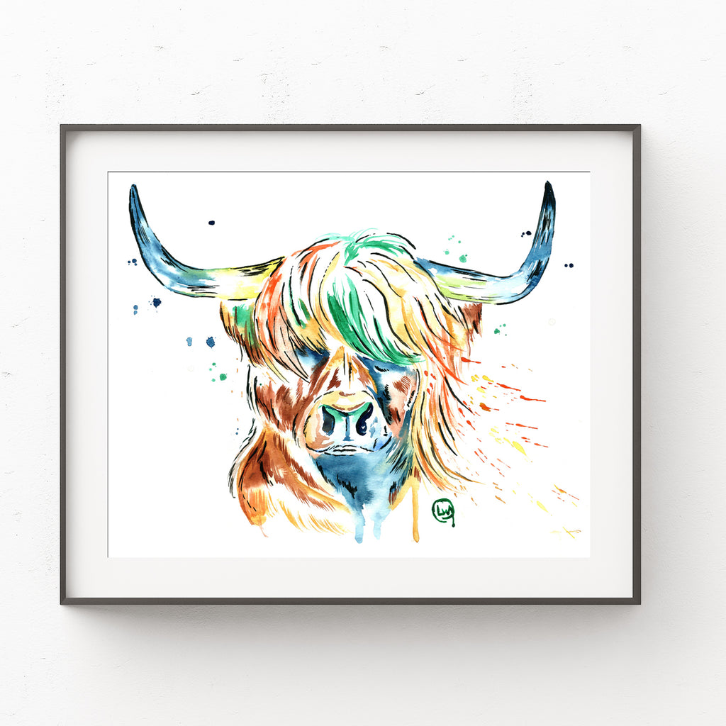 Highland Cow Colorful Watercolor Painting