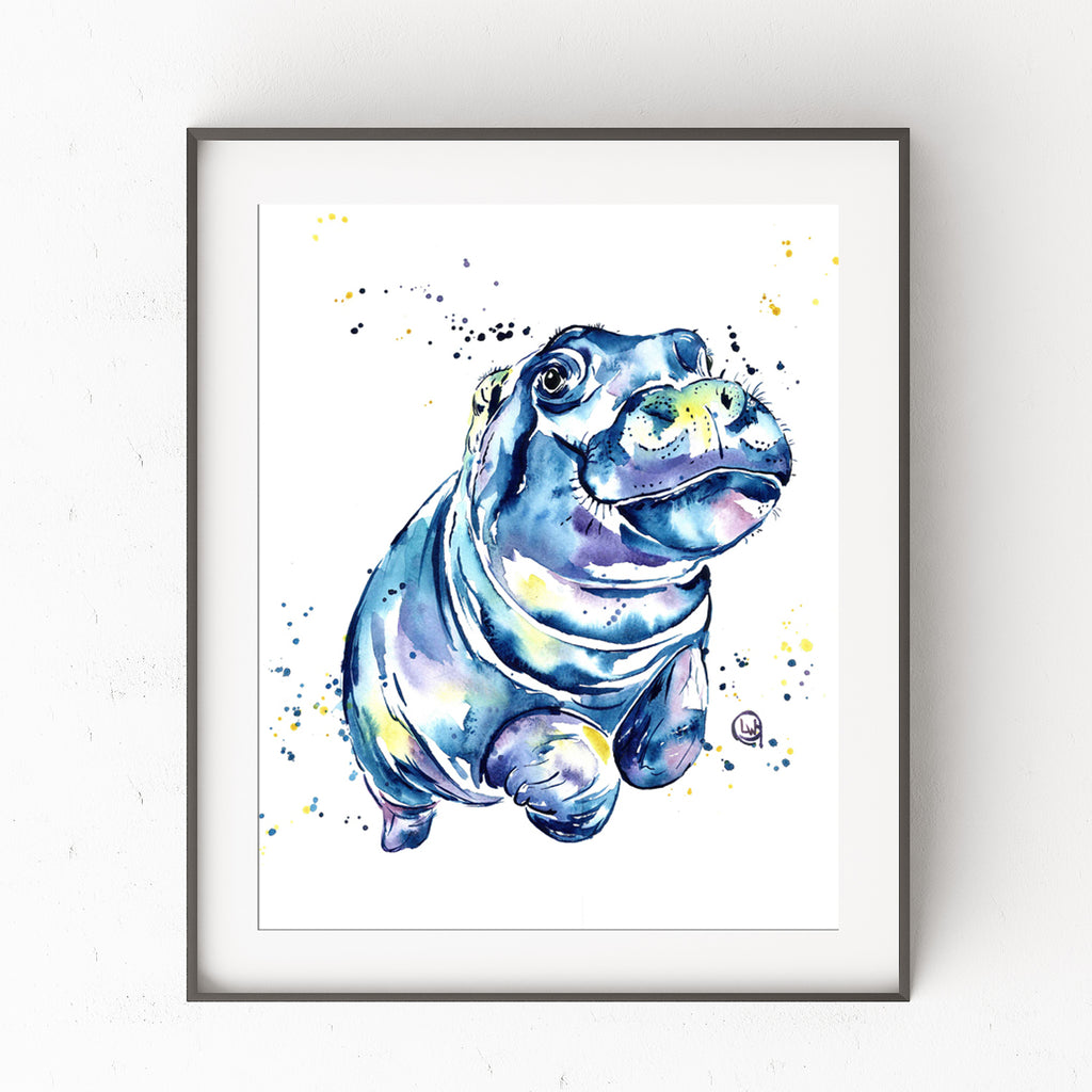Hippo Colorful Watercolor Painting
