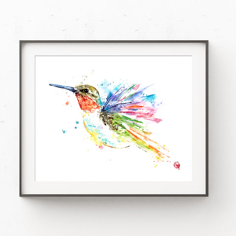 Ruby Throated Hummingbird Colorful Watercolor Painting