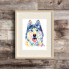 husky wearing aviator goggles watercolor painting