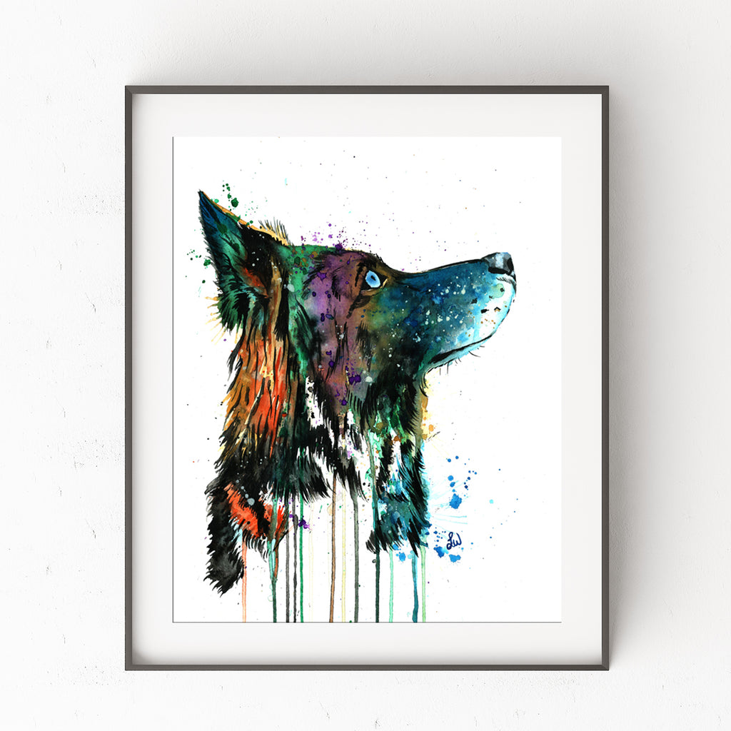 Husky Colorful Pet Portrait Watercolor Painting