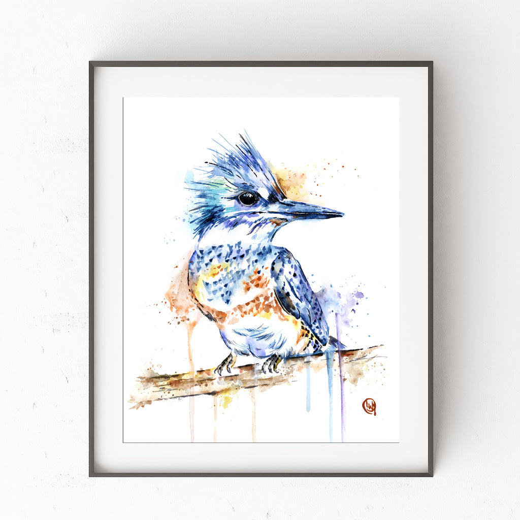 Kingfisher Colorful Watercolor Bird Painting