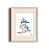 Kingfisher Colorful Watercolor Bird Painting in a frame