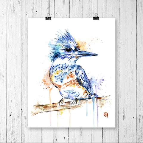 Kingfisher bird watercolour painting