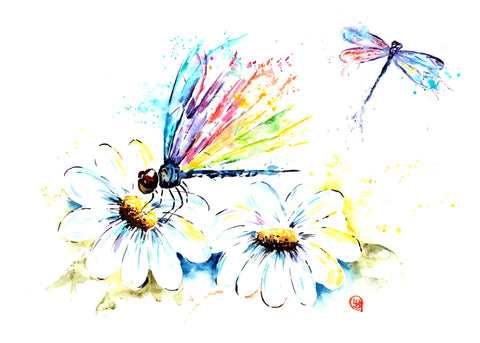 Original Dragonflies Watercolor Painting - 'Diannes Garden'
