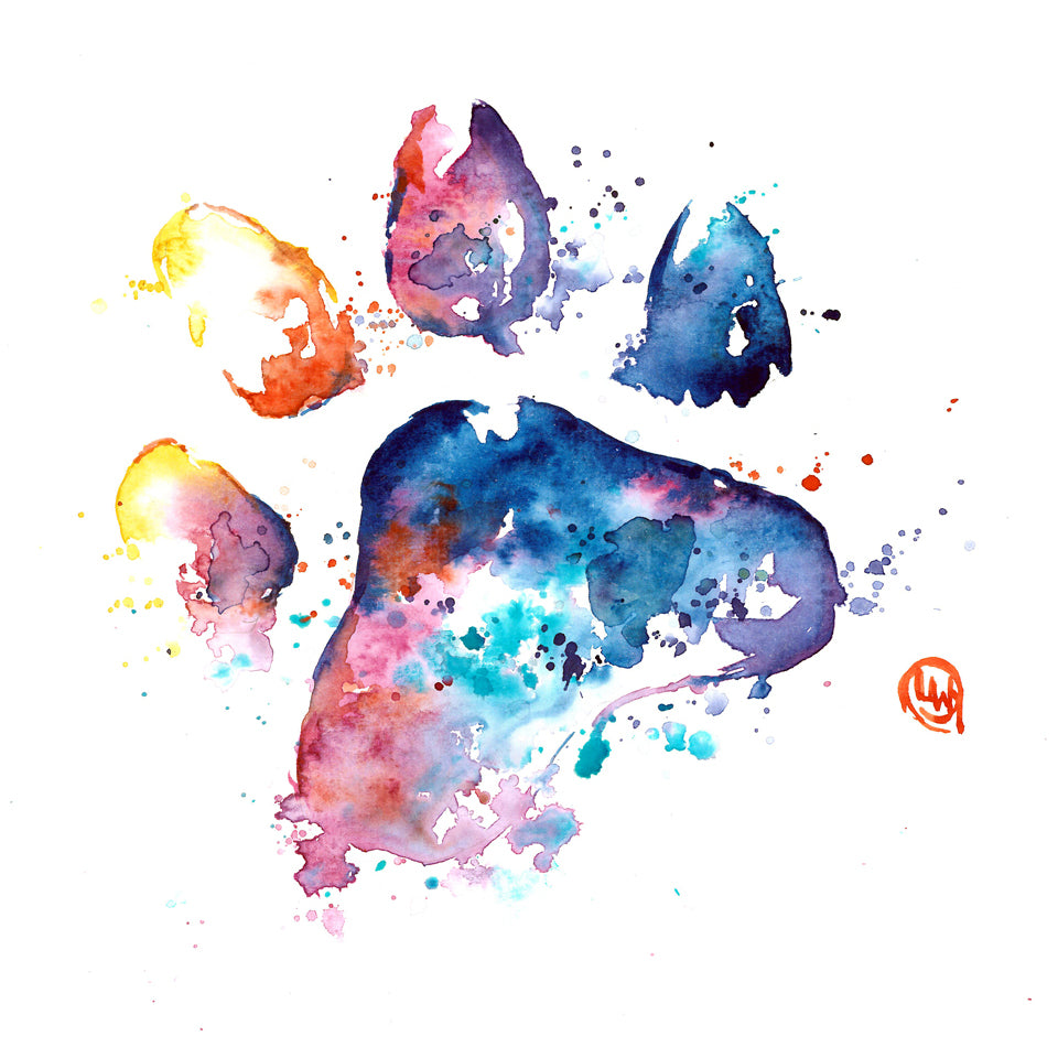 Printable dog's paw print watercolour painting digital download by Lisa Whitehouse