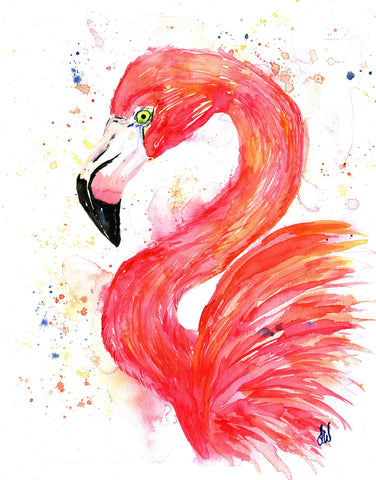 Original Flamingo Waterolor Paintingby Lisa Whitehouse