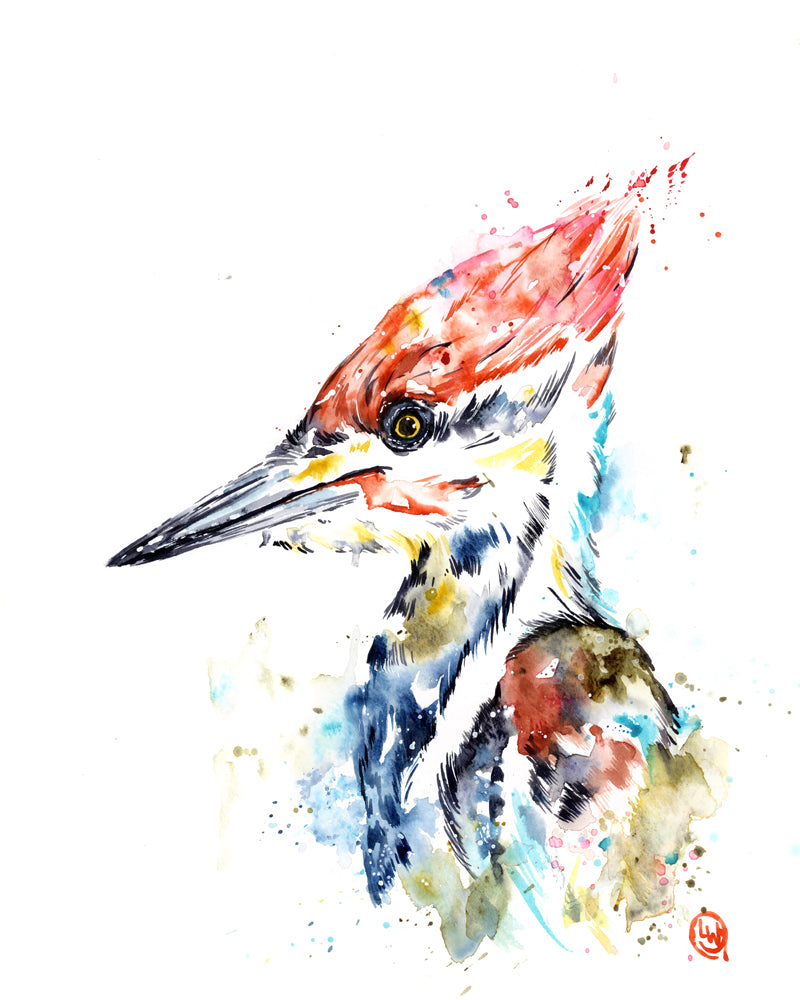 Original Woodpecker watercolor painting by Lisa Whitehouse