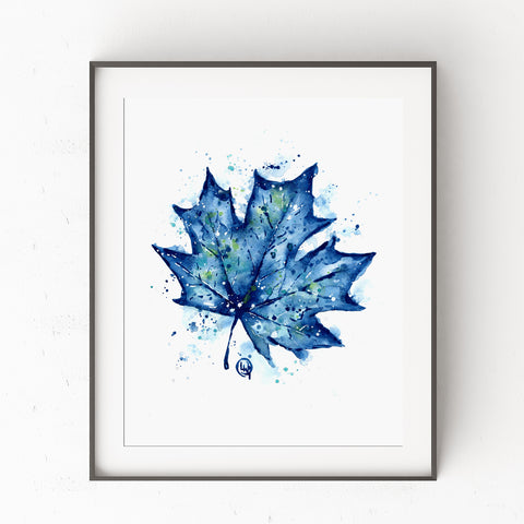 Blue Maple Leaf - Colorful Watercolor Painting