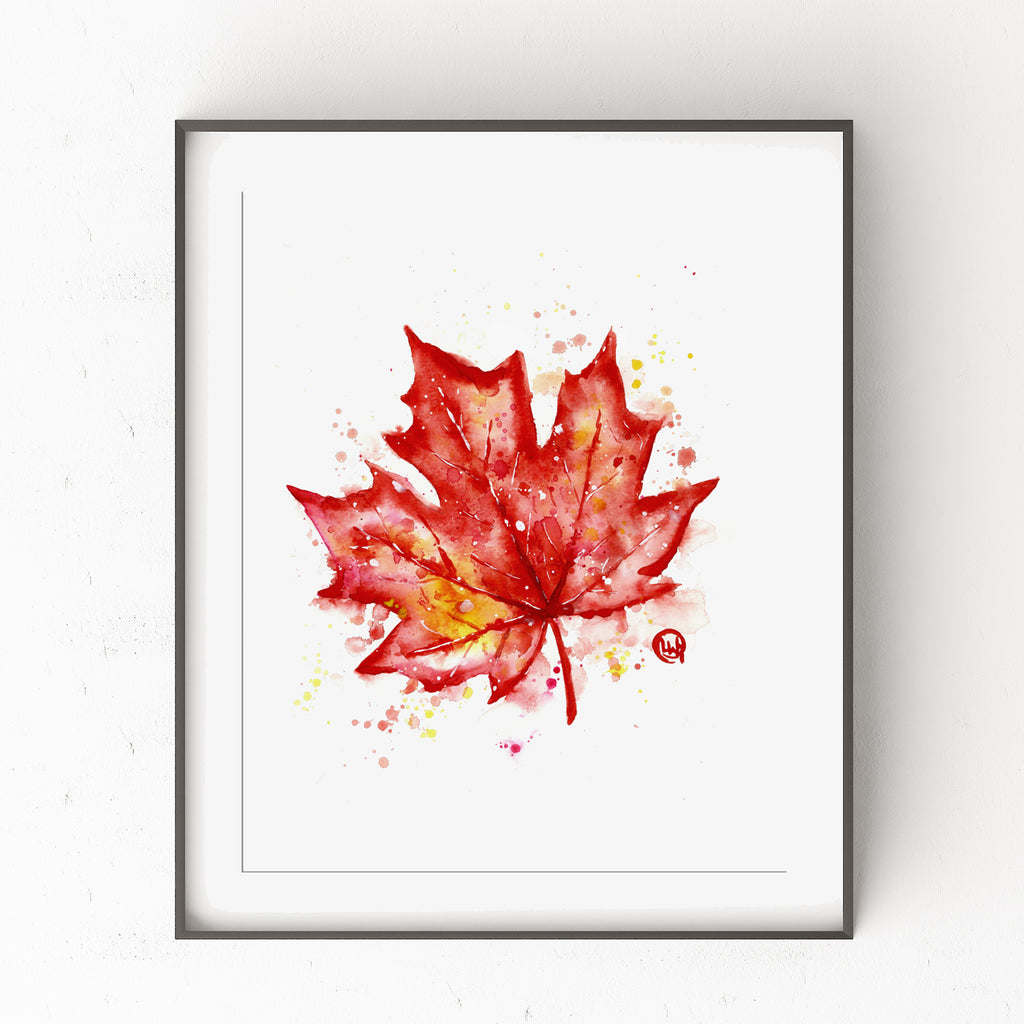 Canadian Maple Leaf - Colorful Watercolor Painting