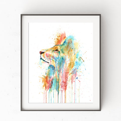 Lion Colorful Watercolor Painting