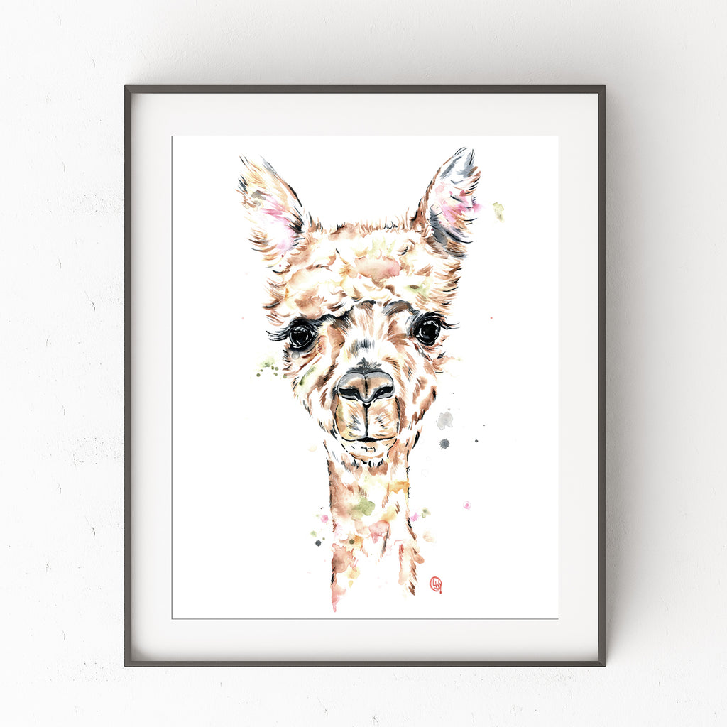 Llama Wall Art by Whitehouse Art | Llama Gifts, Baby Room, Nursery Decor, Alpaca, Artwork, Prints, Paintings | Art Print of an Original Watercolor Llama Painting | Art Work For Home Walls | 6 Sizes