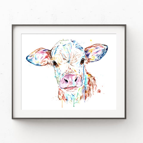 Colourful Manitoba Cow Watercolour Painting