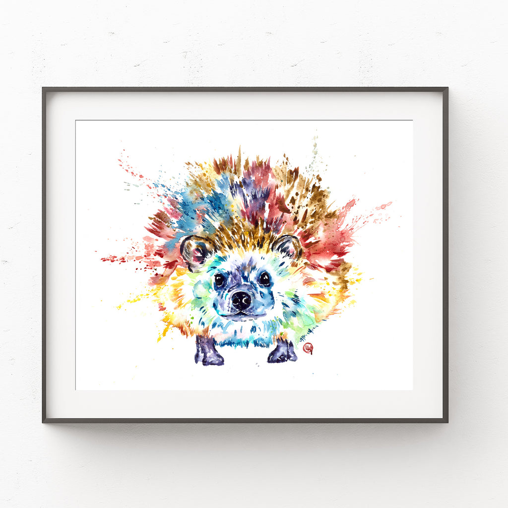 Colorful Hedgehog Nursery Watercolor Woodland Painting