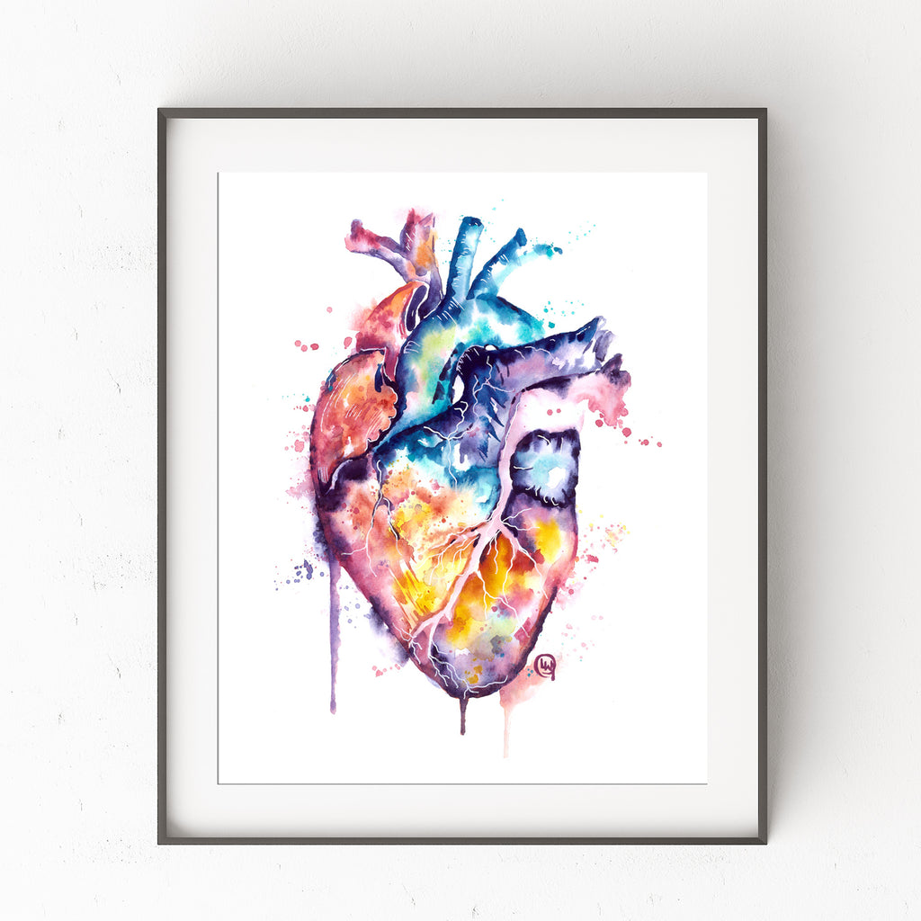 Human Heart Watercolor Painting Art Print