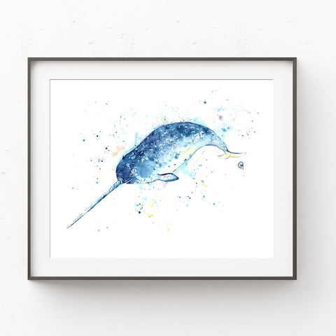 Narwhal Watercolor Painting