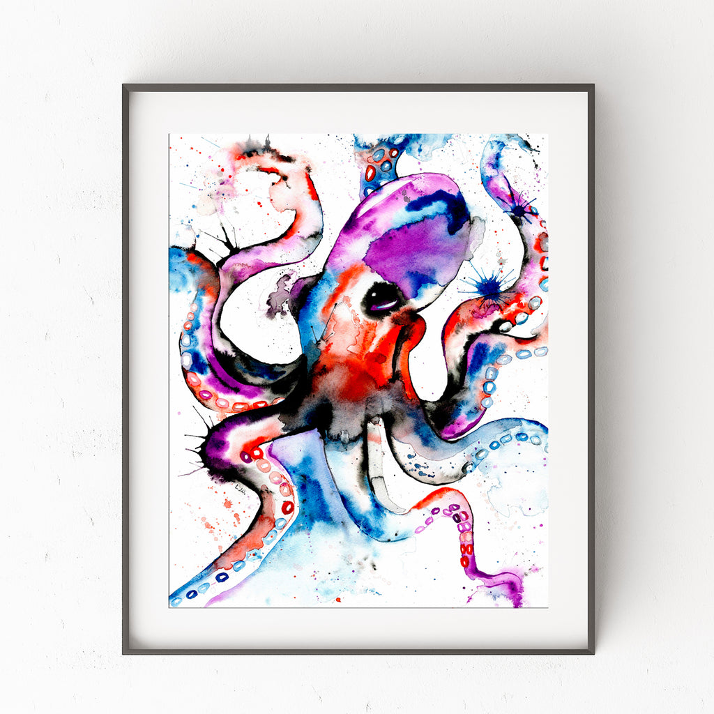 Octopus Colorful Watercolor Painting