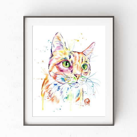 Orange Tabby Cat Colorful Watercolor Painting