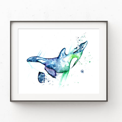 Orca Colorful Watercolor Painting