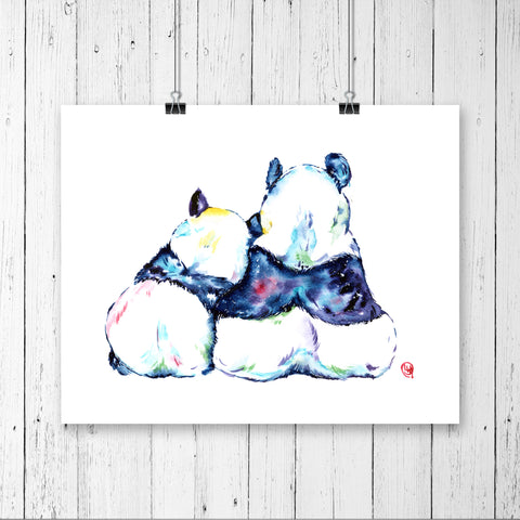 Colourful painting of 2 pandas cuddling