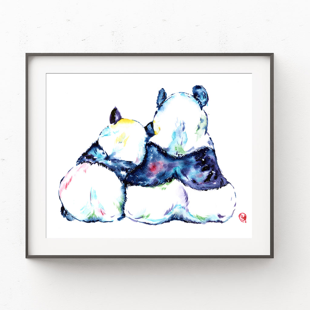 Colorful painting of 2 pandas cuddling