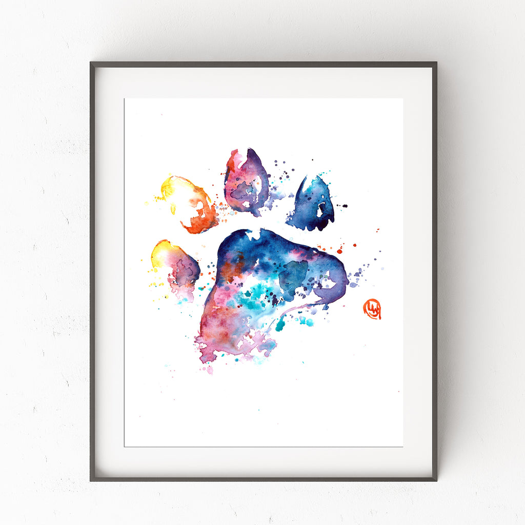 Paw Print Colorful Watercolor  Painting -