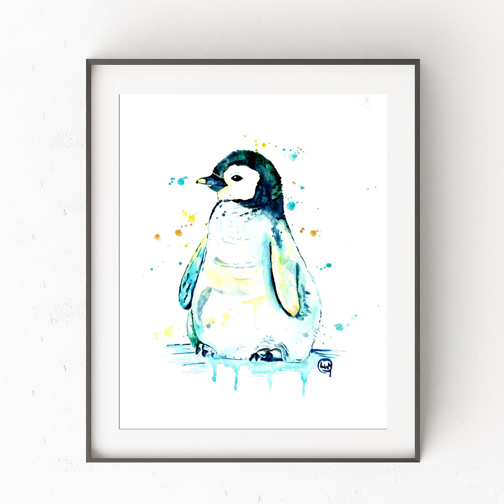 Penguin Colorful Watercolor Painting