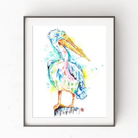 Pelican colorful watercolor painting