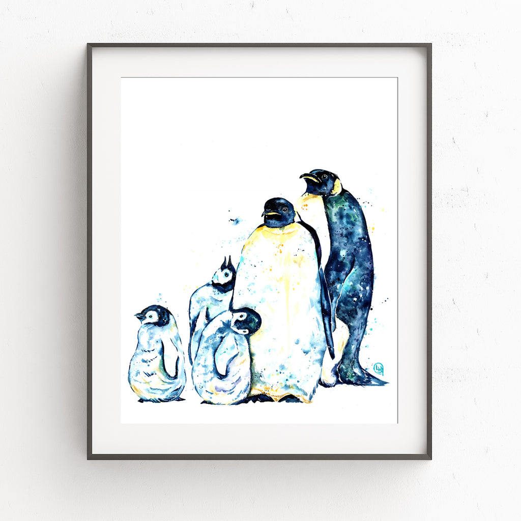 Penguin Family of 5 Watercolor Painting