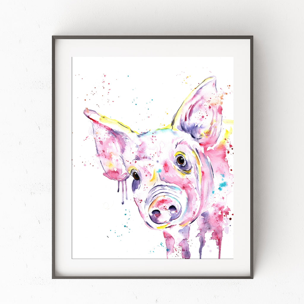 Pig Colorful Watercolor Painting
