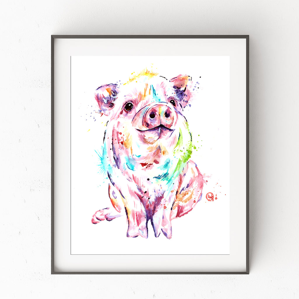 Colorful Pig Watercolor Painting, nursery decor, farm art, art print