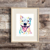 Pitbull Watercolor Dog Painting